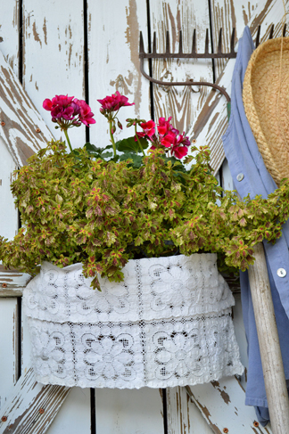 Simply wrap a small section around a potted or hanging plant for a subtle hint of romance.