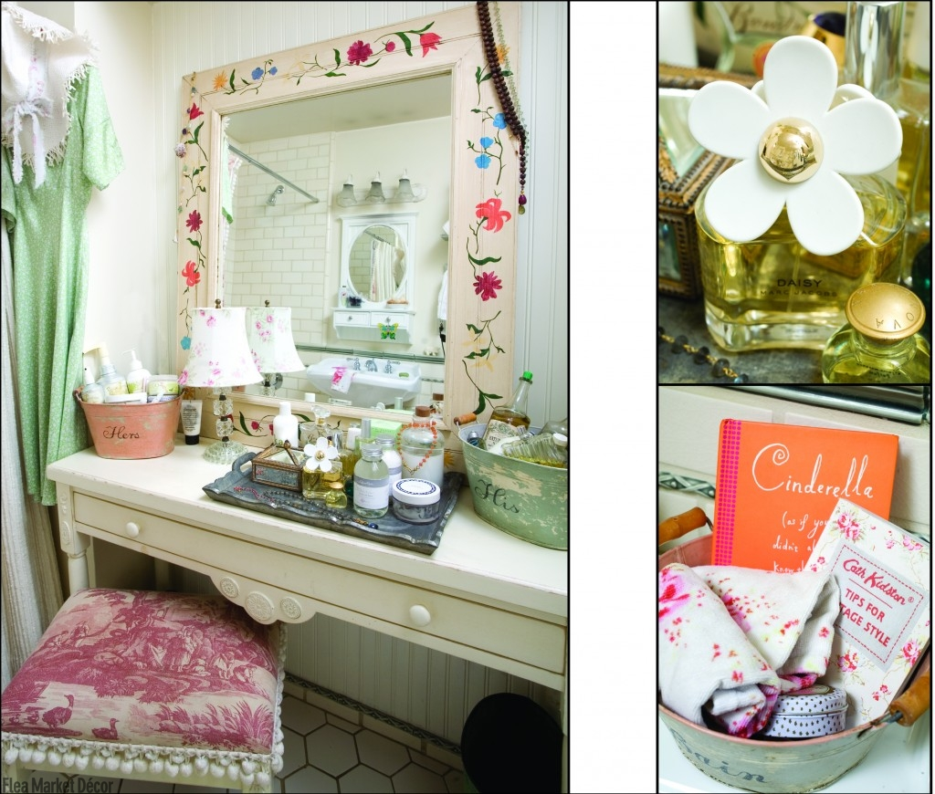 For a vintage vanity, combine your favorite flea market finds for a fun and casual spot perfect for getting ready.