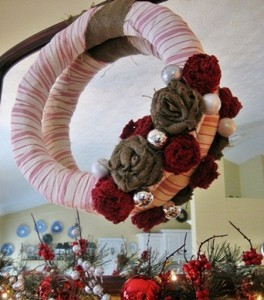 French Ticking and Burlap Wreath