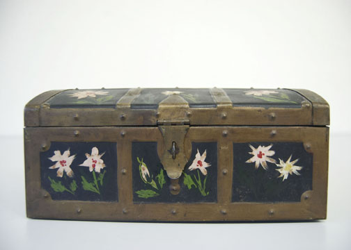 A Toleware chest, hand-painted by a folk artist